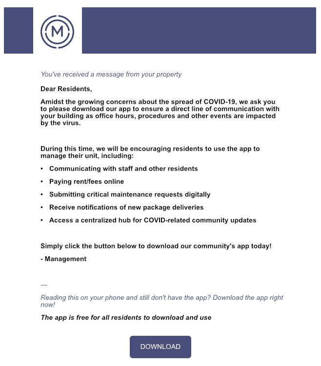 COVID mocked up email